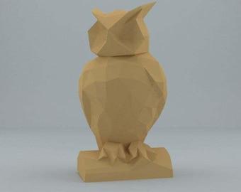 DIY PAPER SCULPTURES  owl pdf file digital product papercraft model template