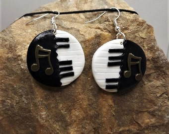 earrings, Fimo music notes.