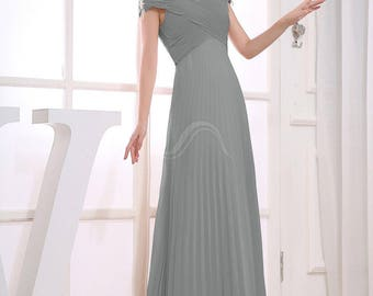 Mother of Bride or Groom A-line Chiffon Gray dress 12 NWT