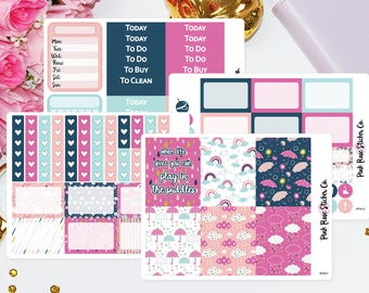 April Showers - Weekly Planner Sticker Kit for Erin Condren