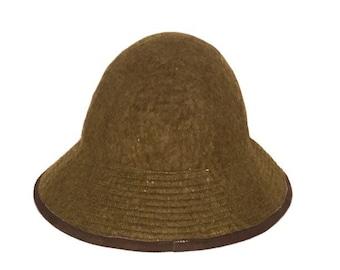 Vintage Olive Green 100% Wool Bucket Hat