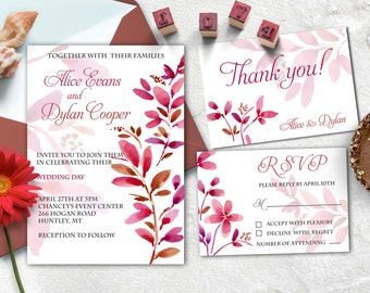Wedding printable invitations set, Floralwatercolor wedding invitation kit, RSVP, Thank you card.