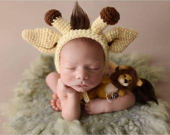 Newborn Giraffe Bonnet - Giraffe Stuffie - Stuffed Animal - Newborn Crochet Bonnet - Knit Animal - Photography Prop - Newborn Props
