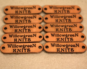 Personalized Knitting Labels - Custom Leather Labels, Personalized Logo Labels Tags, Leather Tags for Knitting - WILLOW DESIGN