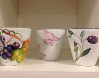 Ceramic Cup, ergonomic, hand-painted-made in Italy