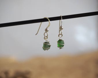 Seaglass+Stirling silver spiral-wrapped earrings