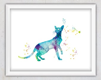 Printable Cat Print, Cat Digital Download Poster, Cat Instant Download Print, Watercolor Print, Printable Nursery Art, Kids Wall Art, Blue