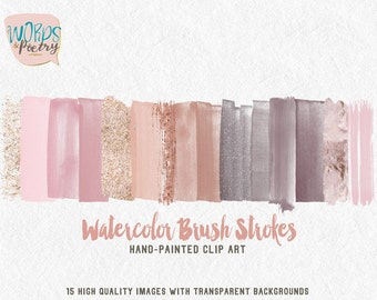 Brush Strokes Clip Art Hand Painted watercolor Pale Pink Glitter Acrylic Graphic Elements Digital Design Resource Brush Clipart HandPainted