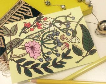 Botanical Print - A6 Print Postcard