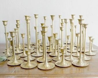 50 Brass Candlesticks Wedding Decor Candle Sticks Graduated Candlestick Lot Candlestick Collection Event Decor Candlestick Set Candle Holder