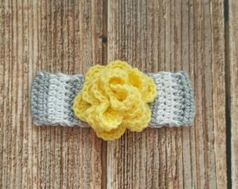 Striped crochet headband, yellow flower baby headband, gray and white headband, Baby photo prop