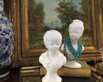 Vintage Neoclassical Porcelain Bust , Statues Boy Girl