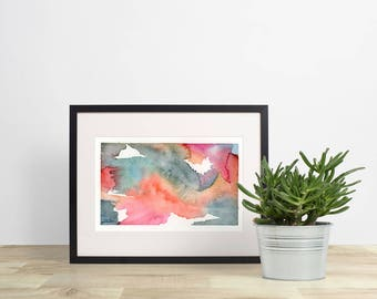 abstract watercolour painting, wall decor, modern art, abstract painting, minimalist art, minimalist painting, colourful, 5x7