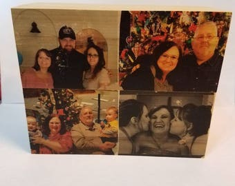 Wooden picture block/personalized picture block/6x4.5 inch picture block