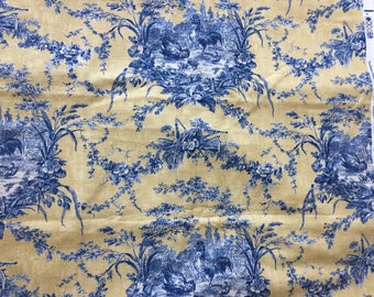 "Waverly La Petite Ferme Toile Fabric Rooster Lake Decorator ~145"" X 60"" / 4 Yard Vintage Fabric, Vintage Waverly, Toile, upholstery fabric"