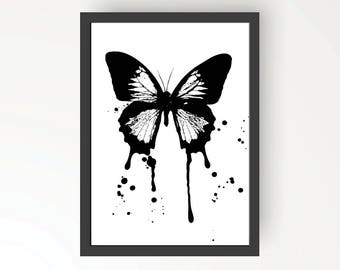 Butterfly Black & White Ink illustration - Digital Print Poster A4, A3
