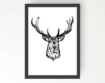Deer Black & White Ink illustration - Digital Print Poster A4, A3