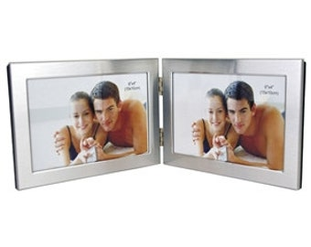 Personalised engraved 4x6 Inch Hinged Aluminium Twin Picture Frame - Wedding, Anniversary, Engagement, Valentines Day, Birthday, Retirement