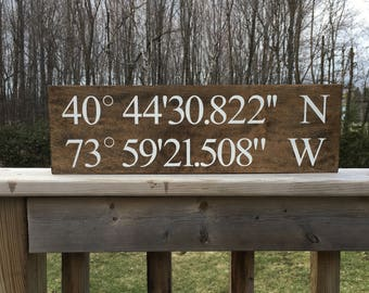GPS Coordinates Sign - Wooden Sign - Custom Wooden Sign - Coordinate Sign - Home Decor - Custom Coordinates - Longitude and Latitude - GPS