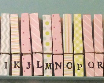 Shabby Chic Alphabet A-Z Magnetic Pegs .. Cath Kidston Style. Fridge Magnets