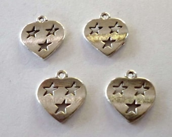 Hearts with Pierced Stars Silver Tone Metal Charms - Pack of Four - H152