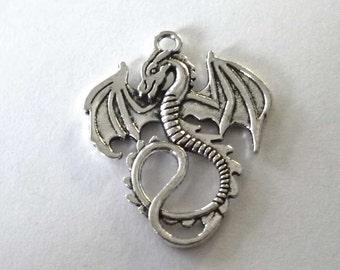 Silver Tone Metal Dragon Pendant - H253