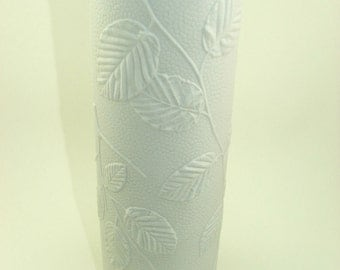 60s 70s BACK TO the NATURE bisque unglazed white vase foliage leaf pattern Kaiser Germany