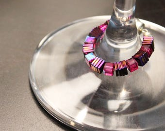 Swarovski™ Cubes Crystal Magnetic Wine Charms | Set of 4 | Unique Wine Glass Charms by Claim Your Glass | Great Hosting Gift!