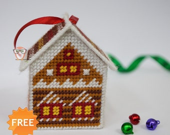 FREE plastic canvas pattern gingerbread house Christmas cross stitch chart free pattern for plastic canvas easy cross stitch free house toy