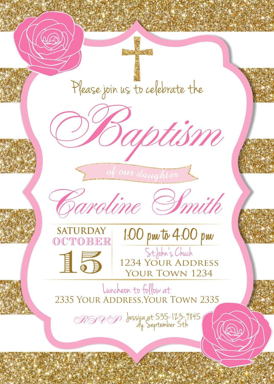 Baptism Invitation Floral Girl Baptism Invitation Baby Girl