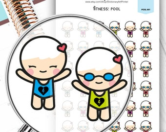Pool fitness stickers for life planner,Erin Condren Stickers,Planner Stickers,kikki k stickers,plum stickers,filofax stickers,kawaii sticker