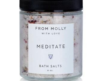 Meditate Bath Salts   Aromatherapy Bath   Bath Soak   Bubble Bath   Magnesium Bath   Lavender Bath Soak   Gifts for Her   Gifts for Mom