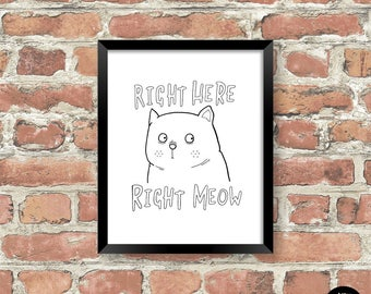 Cat Print, Funny Cat Print, White Cat Print, Cat Wall Art, Cat illustration, White Cat, Cat Gifts, Cat Lover, I Love Cats, Funny Cat, Print