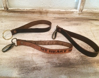Custom Leather Keychain Wristlet