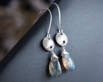 Sterling Silver Earrings, Labradorite Earrings, Silver Labradorite Earrings, Sterling Silver Stone Drop Earrings Labradorite Silver Earrings