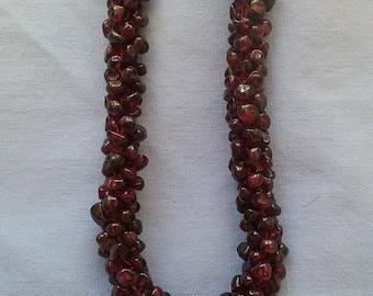 Genuine Garnet Pebble Necklace