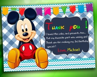 Mickey Mouse Thank you card, Mickey Mouse Birthday Invitation, Mickey Mouse, Printable Thank you card