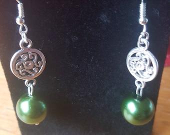 Bottle Green drop earrings