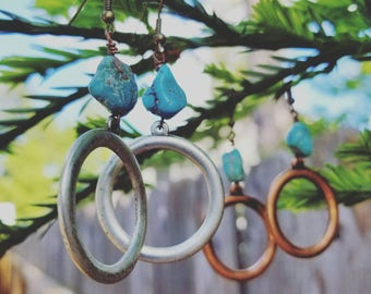 Silver turquoise earrings!