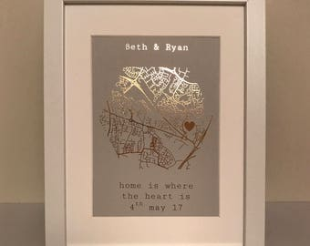 "A5 Framed, Personalised ""Home is where the heart is"" Metallic Foil Map Print"