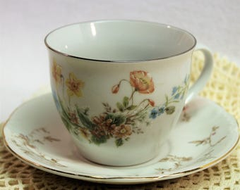 Tea Cup and Saucer - Mismatched - Tea Party - Bridal Shower - Fairy Garden  - Candle cup Vintage