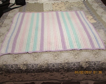 Crochet Crib Blanket ~ Purple - Green - Pink -  Blue - White  ~Nursery~Baby Shower~Gift Baby