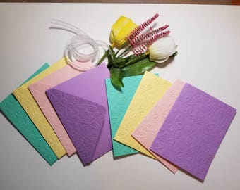 Embossed Butterfly card. Set of 4. Handmade