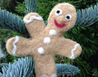 Gingerbread man Christmas decoration. Christmas ornament. Rustic. Needle felt. Christmas tree decoration