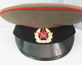 Vintage Military Hat cap Military Cap Army Cap  Officer's Cap vintage in hats art Military collection