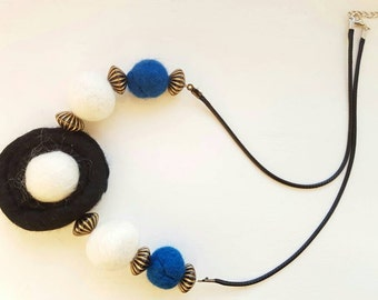 Felted Necklace white blue and black