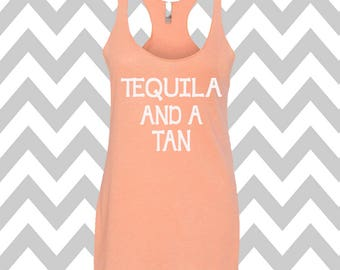 Tequila And A Tan Racerback Tri Blend Tank Top Summer Tank Top Gym Tank Top Workout Tank Funny Tee Funny Drinking Tee Fashion Tee  Vacation