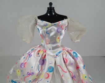 Barbie Birthday Ballgown, Puffy Sleeves, Ribbon Bows, Sparkly Tule, Rainbow Colered Dress