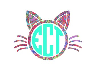 cat face monogram frame decal - lilly decal sticker car tumbler coffee mug laptop ipad wine glass kitty cute sweet adorable