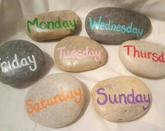 Days of the week resource. Story stones. Learning resource. Spelling. Literacy